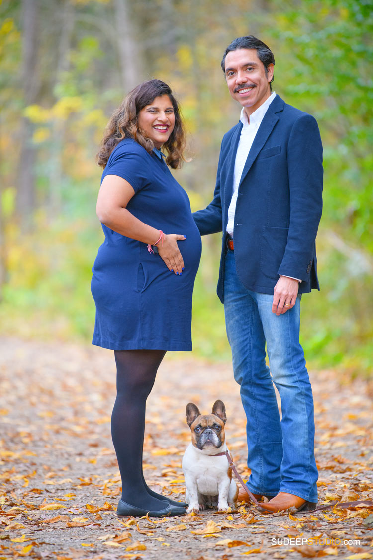 Maternity Photography in Nature Fall Outdoors with pets by SudeepStudio.com Ann Arbor Maternity Portrait Photographer