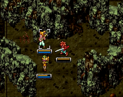 Crono, Marle, and Lucca battle monsters in 2300 AD's Site 16