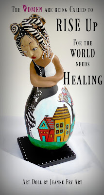 Rise Up a Gourd and Clay Sculpted Art Doll for Women's Empowerment