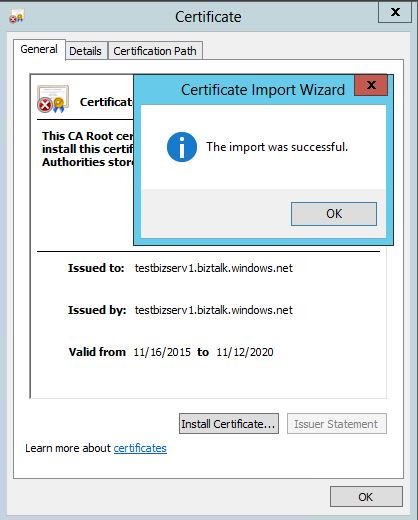 Trusted Root Certification  import complete