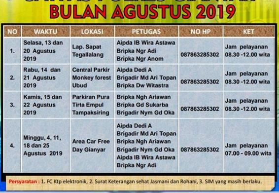 Jadwal Sim Keliling Gianyar Agustus 2019 Sim Keliling