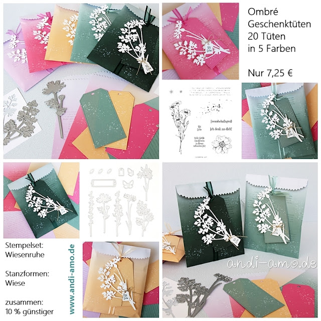 Materialliste für dekorierte Ombre-Geschenktüten