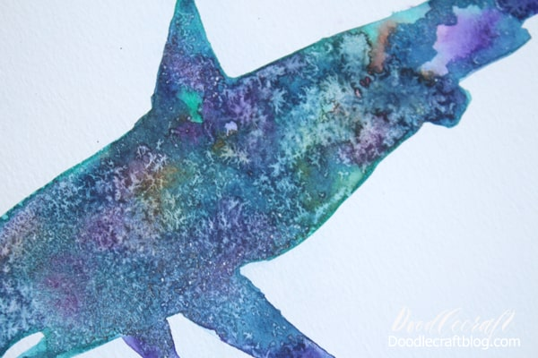 Use salt on watercolors to create crystalline patterns
