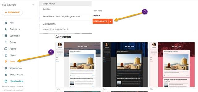 personalizzazione del tema di blogger