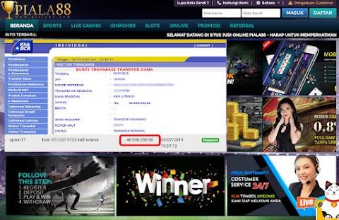 Selamat Kepada Member Setia PIALA88 Withdraw Rp 46.500.000