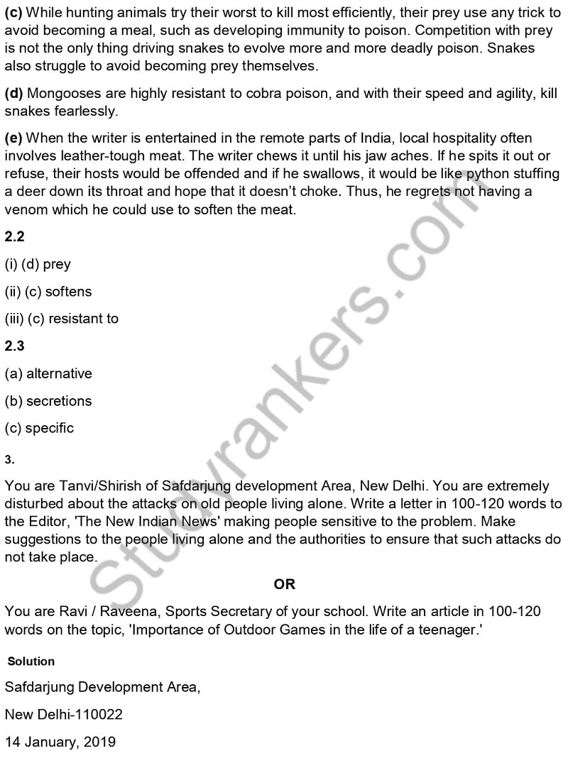 CBSE Previous Year Question Paper Class 10 English 2019 Part 5