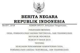 Download Peraturan Nomor 9 Tahun 2018 Tentang Kebijakan Pengawasan Kementerian Desa, Pembangunan Daerah Tertinggal, Dan Transmigrasi