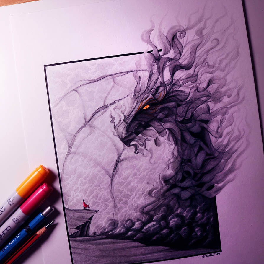 05-Smoke-Dragon-C-Straver-Fantasy-Movie-Characters-Drawings-www-designstack-co