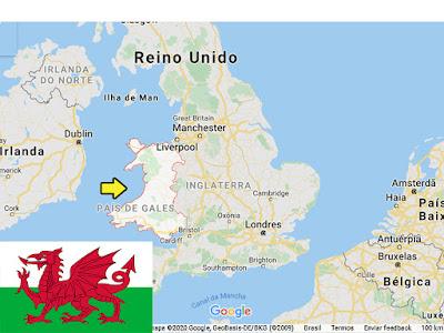 Localização de País de Gales no mapa.