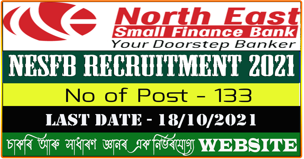 North East Small Finance Bank Recruitment 2021 - Apply Online for 133 Vacancy