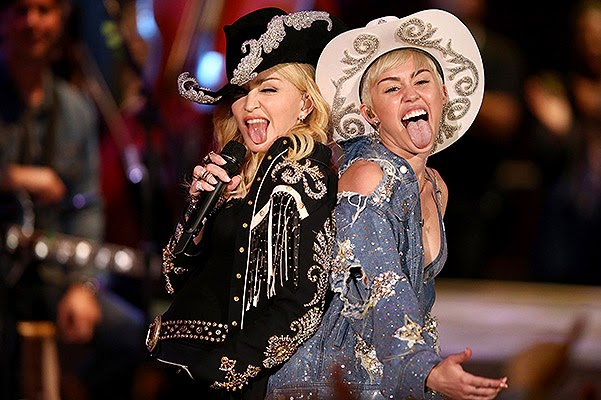 first photos with performances Madonna and Miley Cyrus