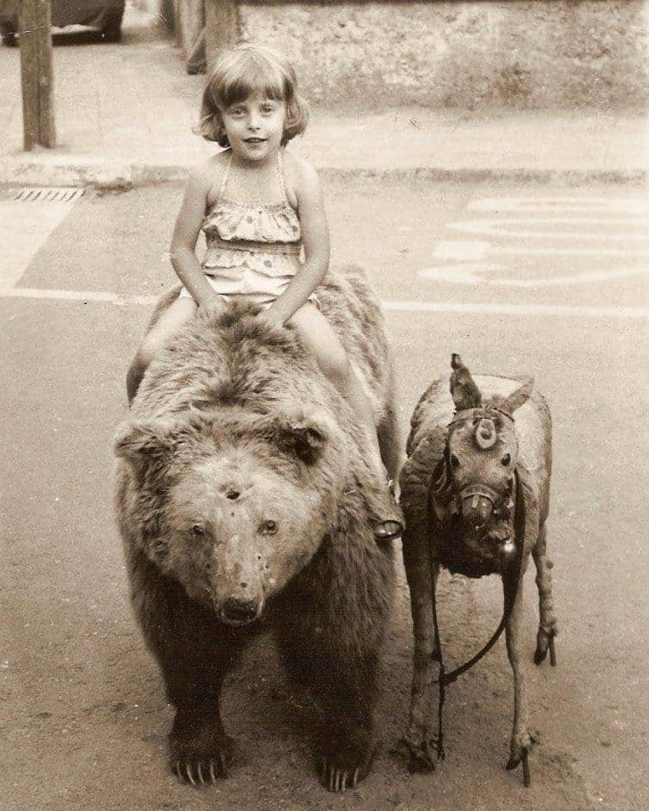 Vintage Photo of a Little Girl Riding a Taxidermy Bear, 1983