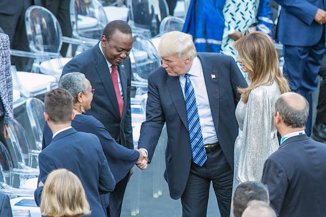 That moment DONALD TRUMP and MELANIA met UHURU's wife, MARGARET (PHOTOs)