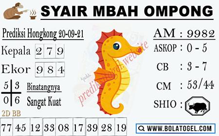 Syair Mbah Ompong HK Malam Ini 20-09-2021