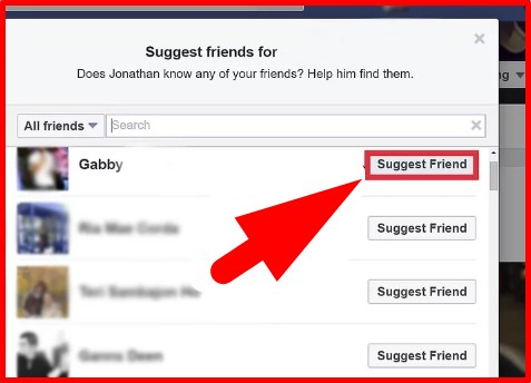 how to suggest a friend on fb