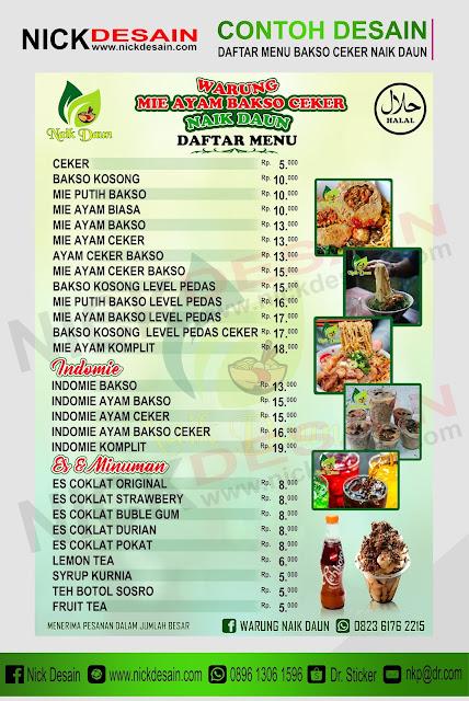 Contoh Daftar Menu WARUNG MIE AYAM BAKSO CEKER NAIK DAUN - Percetakan Tanjungbalai