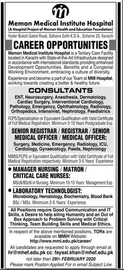 Jobs in Memon Medical Institute Hospital 2020