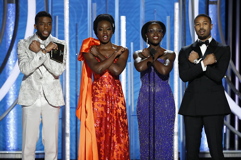 Michael B. Jordan, Chadwick Boseman, Danai Gurira, and Lupita Nyong'o at an event for 2019 Golden Globe Awards (2019)