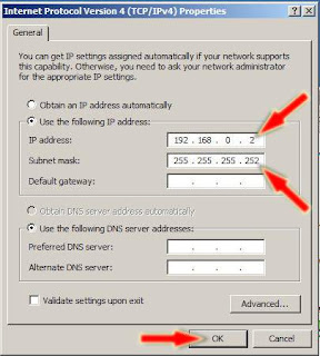 atur ip address dan subnet mask