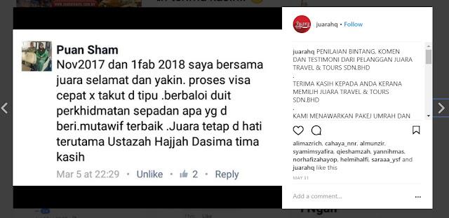 Testimoni Umrah Juara Travel