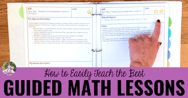 "Photo of lessons binder with text, ""How to Easily Teach the Best Guided Math Lessons."""