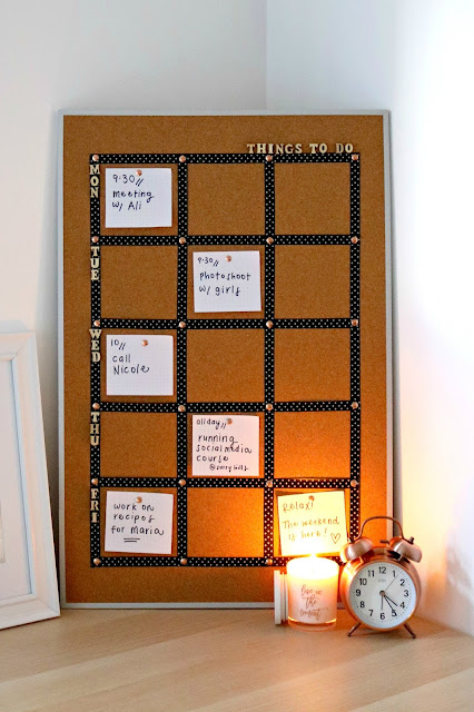 DIY Cork Board Craft Ideas - How to Turn a Cork Board into a Personalized Weekly To Do List For Your Office -Finished
