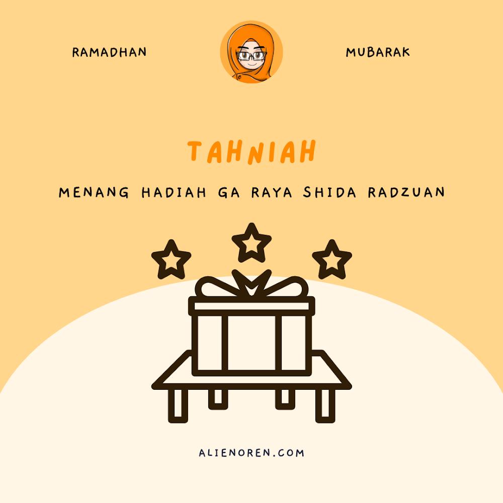 Menang Giveaway Raya Shida Radzuan