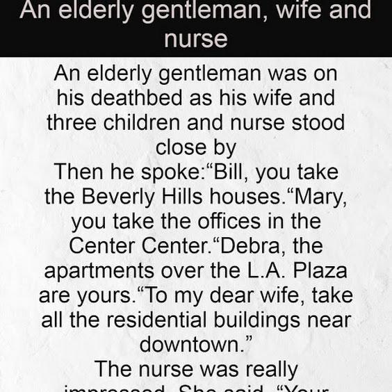 An elderly gentleman, wife and nurse