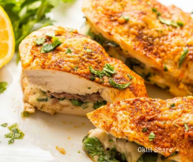 Chicken Breasts Stuffed With Prosciutto, Spinach & Mozzarella