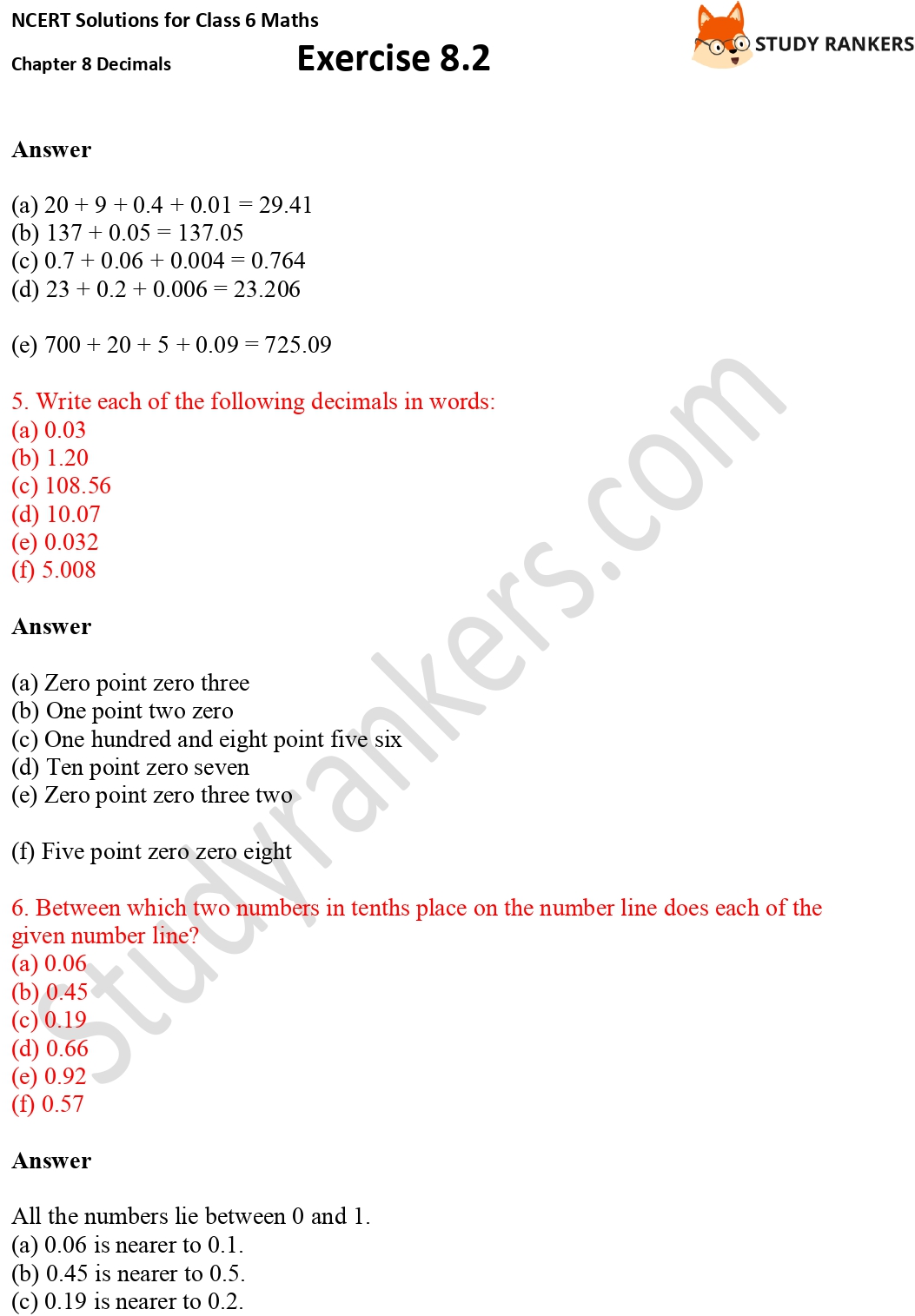 NCERT Solutions for Class 6 Maths Chapter 8 Decimals Exercise 8.2 Part 3