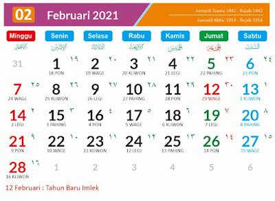 Kalender 2021 Masehi Februari