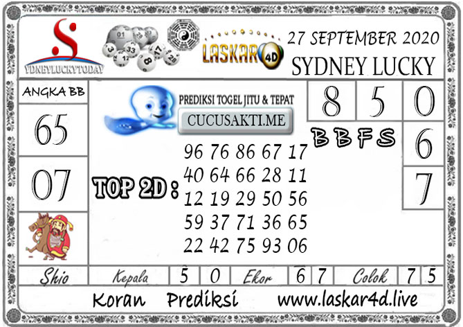 Prediksi Sydney Lucky Today LASKAR4D 27 SEPTEMBER 2020