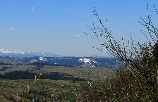 Na zachodzie świetnie widoczne są stoki Kotelnicy Białczańskiej pokryte resztkami śniegu