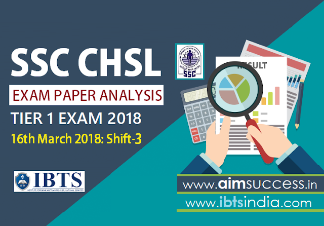 SSC CHSL Tier 1 Exam Analysis 16th March 2018 - Shift 3
