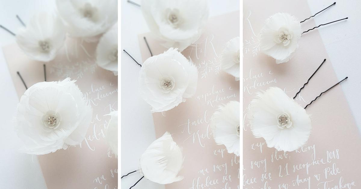 Kokówki ślubne z kwiatami.