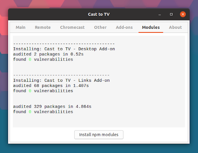 Cast to TV install npm modules