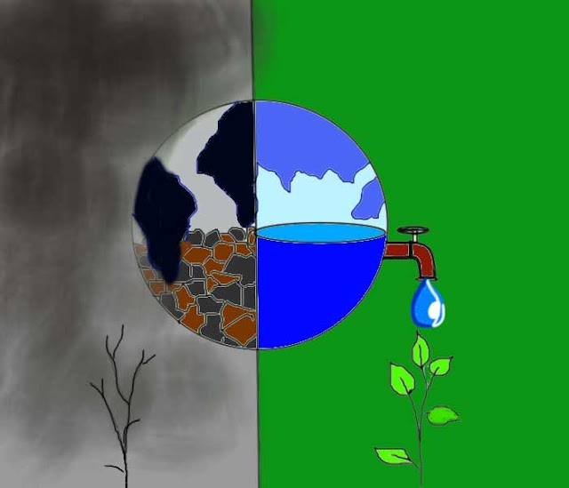 How to save water drawing easy for a kids competition step by step with color