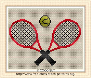 TENNIS RACKET, FREE AND EASY PRINTABLE CROSS STITCH PATTERN