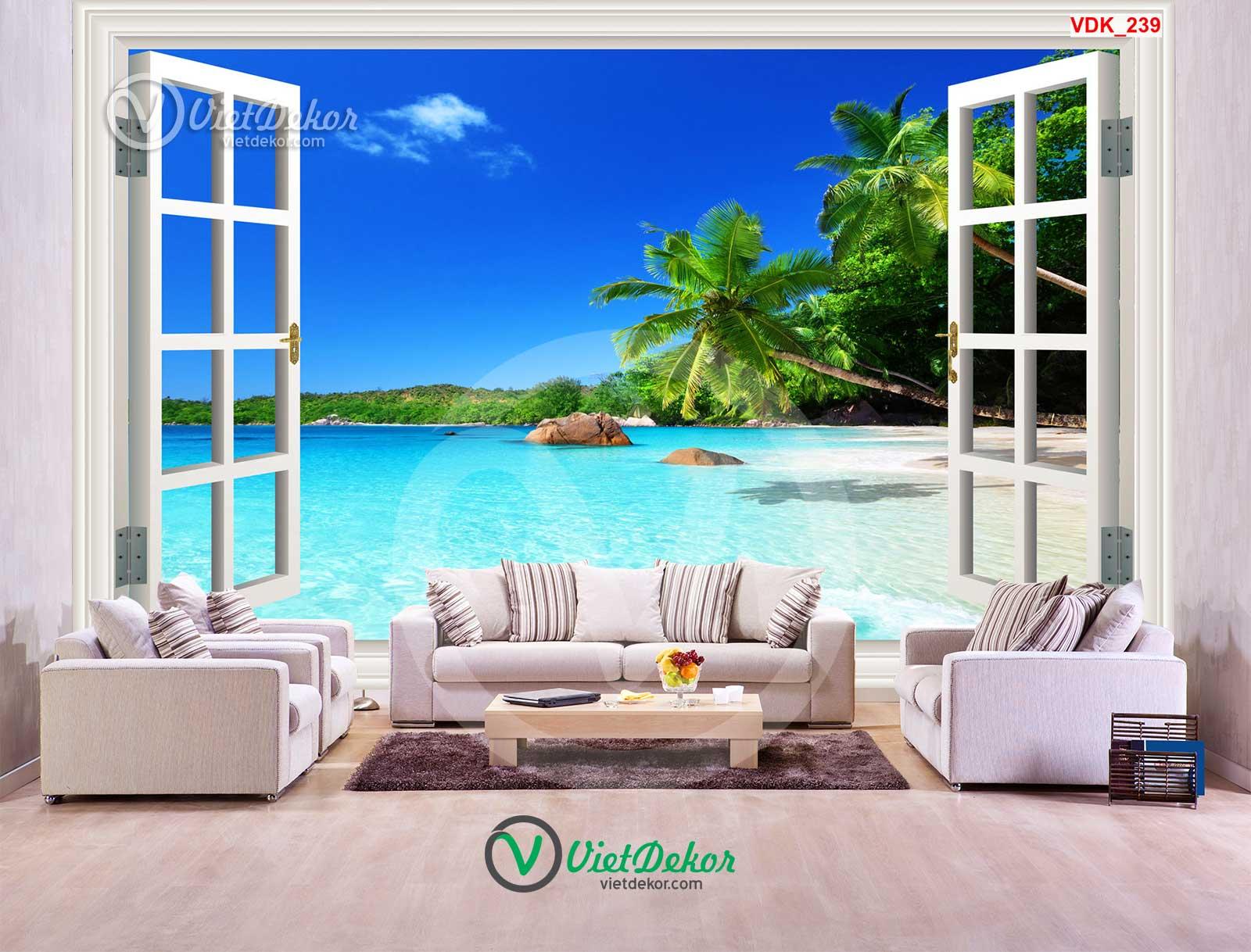 Tranh 3d dán tường cửa sổ cho phòng khách đẹp