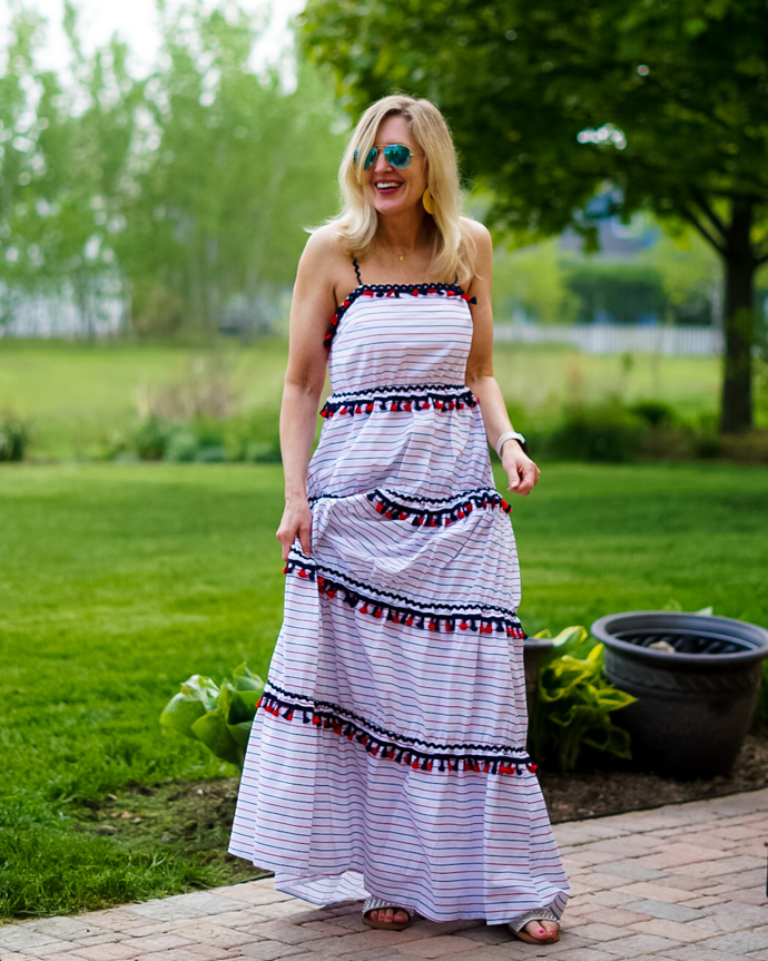 red, white and blue maxi dress with tassels