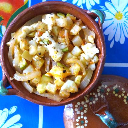 Cheese and Chile Potatoes with Squash