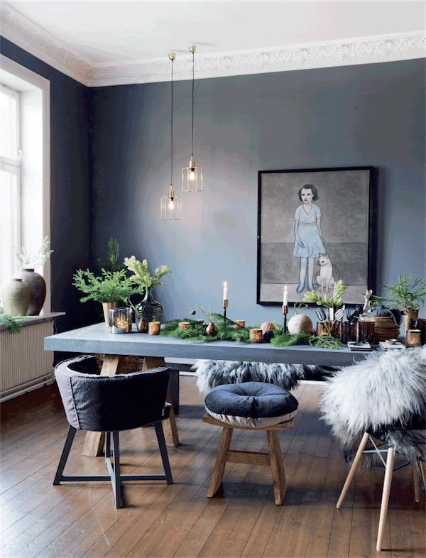 paredes comedor pintadas en gris oscuro chicanddeco