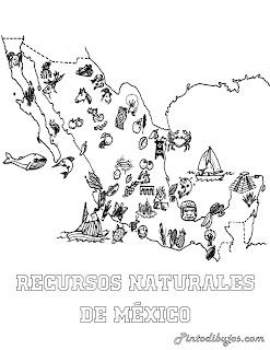 Recursos naturales de México para colorear, recursos naturales para pintar