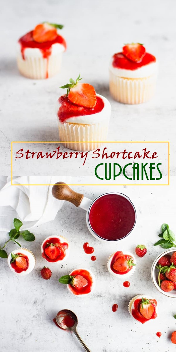 Strawberry Shortcake Cupcakes #Cupcakesrecipes