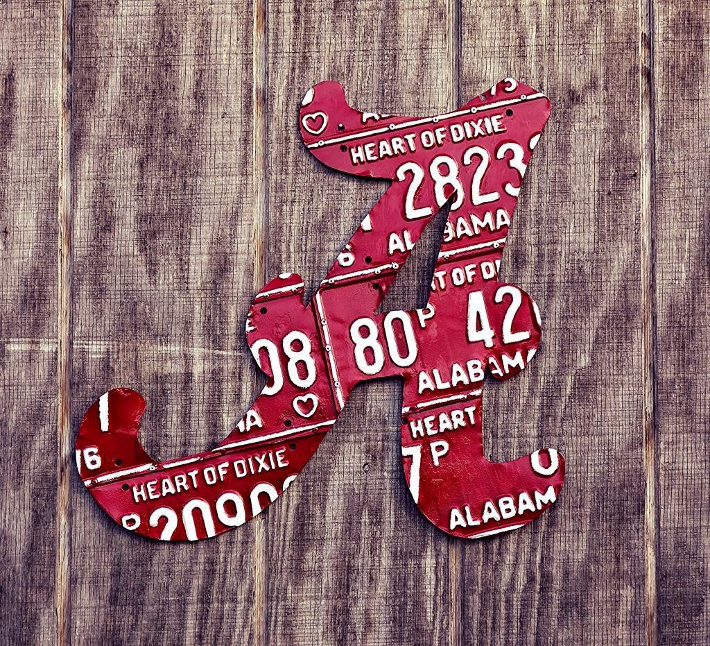 "Upcycled Alabama License Plate Crimson Tide University Of Alabama ""A"""