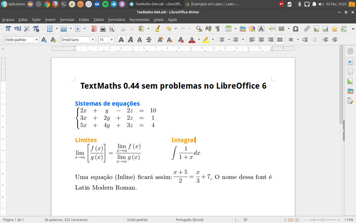 LibreOffice 6 com o TexMaths 0.44 no Linux Ubuntu 16.04.3 LTS