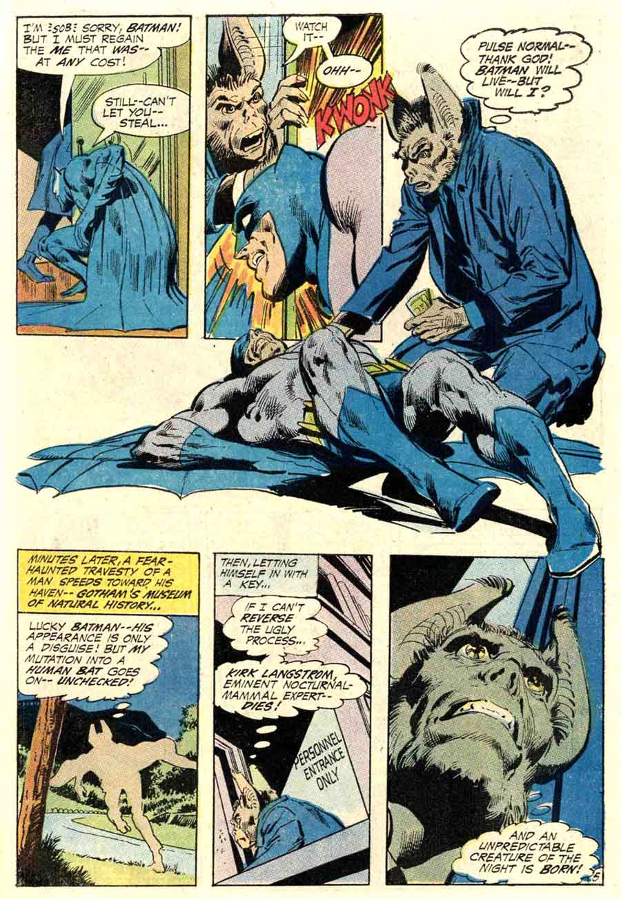 Detective Comics #402 dc Batman Man-bat comic book page art by Neal Adams