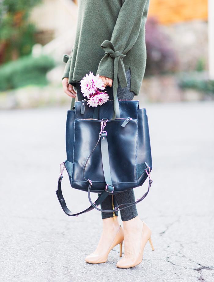 Ann Tyalor luxewear wool cashmere tie sleeve sweater olive