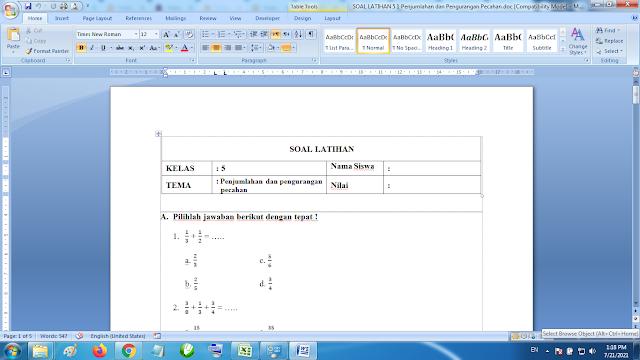 Download Soal Latihan Matematika Kelas 5 SD MI Penjumlahan dan Pengurangan Pecahan K13 Terbaru