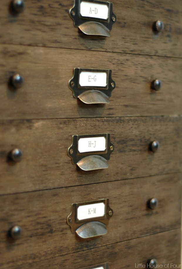 File cabinet makeover using metal label holders from D.Lawless Hardware